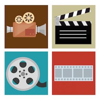 Кино развлечения набор иконок