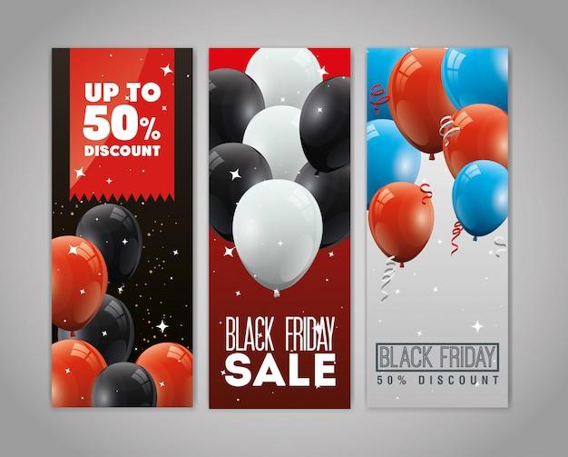 Набор баннеров черная пятница с воздушными шарами гелий украшения