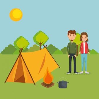 キャンプ場で若いカップル