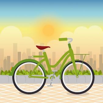 公園のシーンで自転車