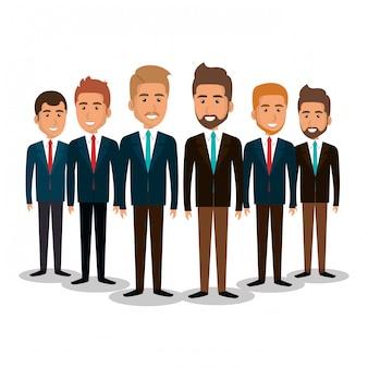 ビジネスマンのチームワーク図のグループ