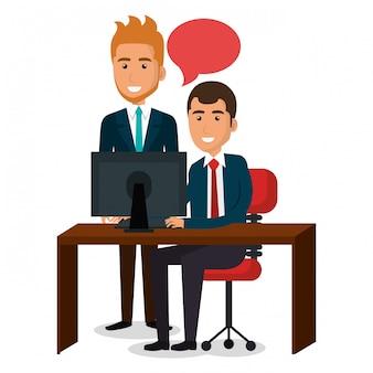 オフィスの図にビジネスマンのチームワーク