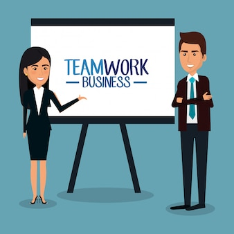 Бизнесмены работа в команде с картонной иллюстрацией