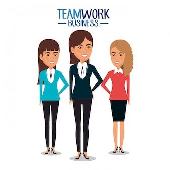 ビジネスウーマンチームワークイラストのグループ