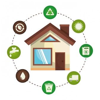 Иллюстрация окружающей среды и экологии набор иконок