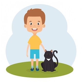 猫のキャラクターを持つ少年のイラスト