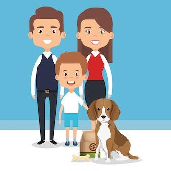 ペットのキャラクターと家族のイラスト
