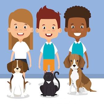 ペットのキャラクターと小さな子供たちのイラスト