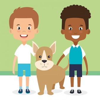 犬のキャラクターと子供たちのイラスト