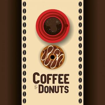 Иллюстрация вкусные чашки кофе и пончики