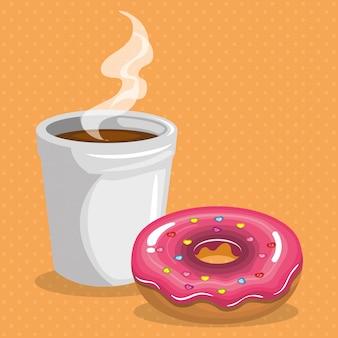 Иллюстрация вкусный кофе пластиковый горшок и пончик