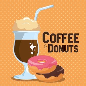 Иллюстрация вкусной ледяной чашки кофе и пончики