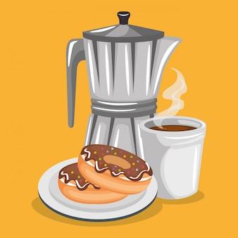 Иллюстрация вкусного кофе в чайнике и пончики