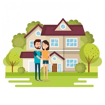 Иллюстрация пара влюбленных вдали от дома