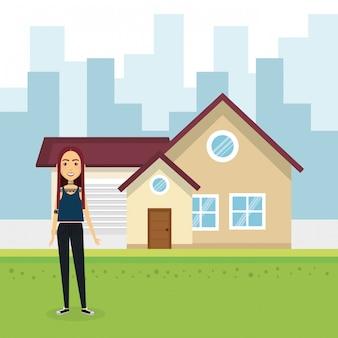 Иллюстрация молодой женщины вне дома