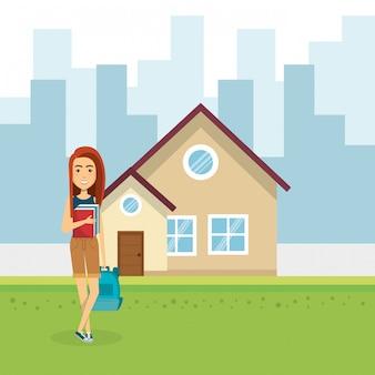 家の外の若い女性のイラスト
