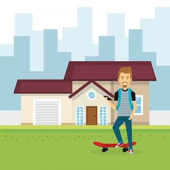 Иллюстрация молодого человека вне дома