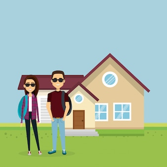 家から離れた恋人のカップルのイラスト