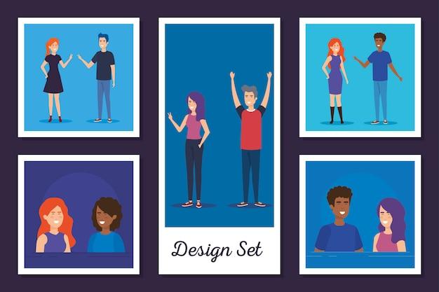 若者アバターキャラクターベクトルイラストデザインのデザインセット