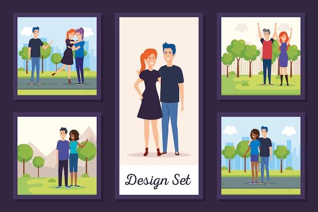 公園の若者のデザインセット
