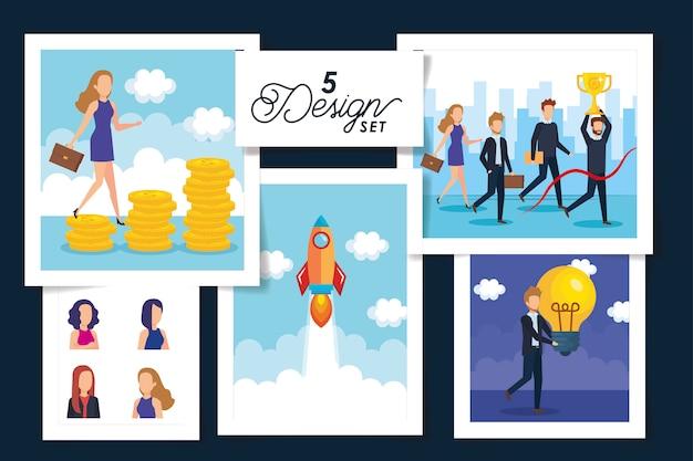 Пять дизайнов сцен деловых людей