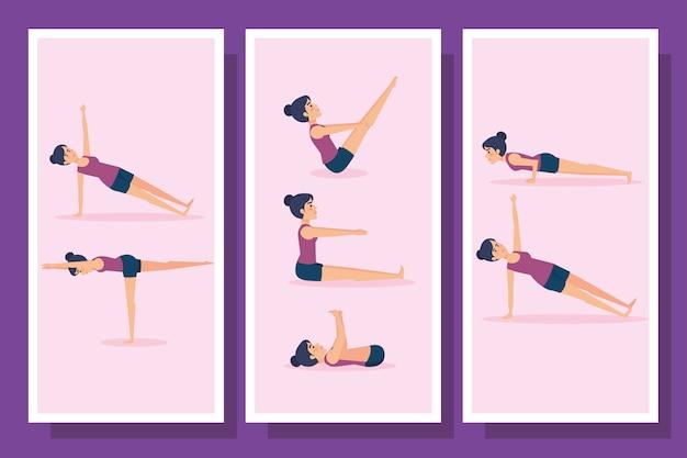 Пачка женщин, практикующих йогу