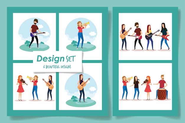 Шесть дизайнов людей с музыкальными инструментами векторная иллюстрация дизайн
