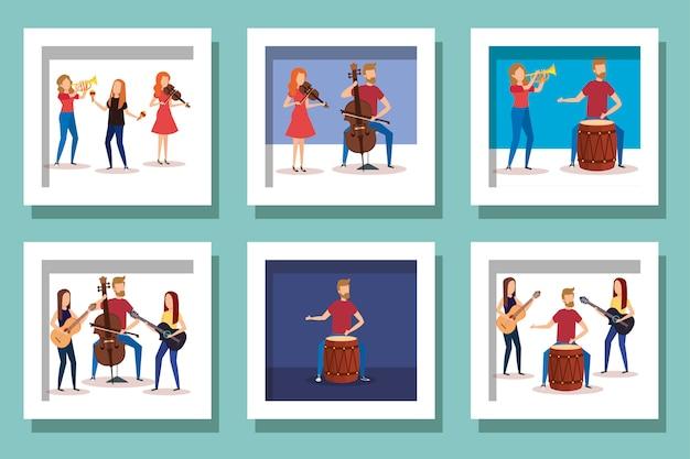 Пачка людей с инструментами музыкальный дизайн векторные иллюстрации