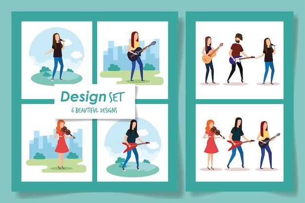 Шесть дизайнов людей с музыкальными инструментами