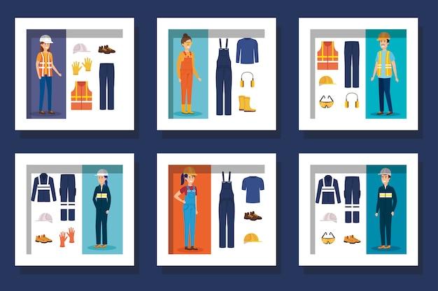 制服と個人保護要素を備えた労働者の束