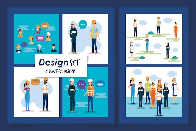 Шесть дизайнов группы рабочих
