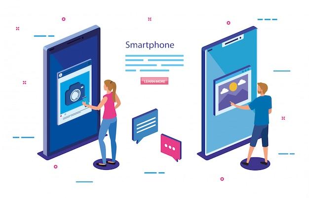 Изометрические смартфоны и люди векторный дизайн