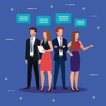 アバターのキャラクターを話しているビジネス人々の会議
