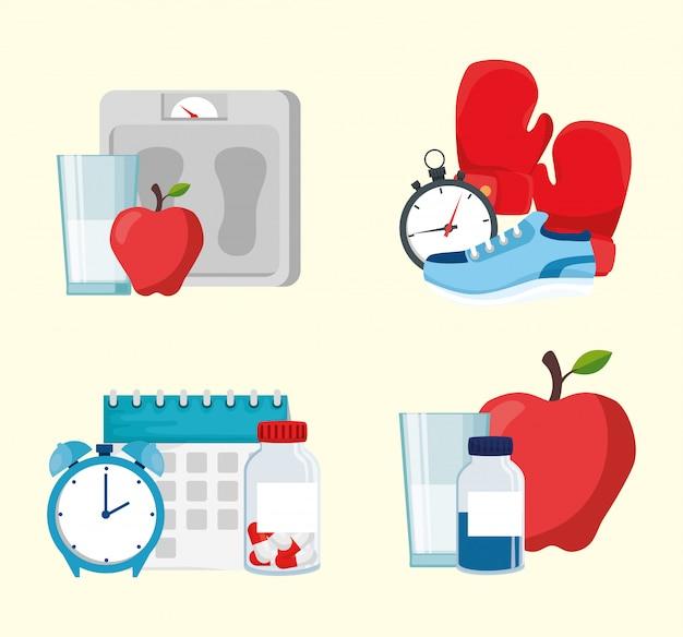 健康的なライフスタイルの概念ベクトルデザイン