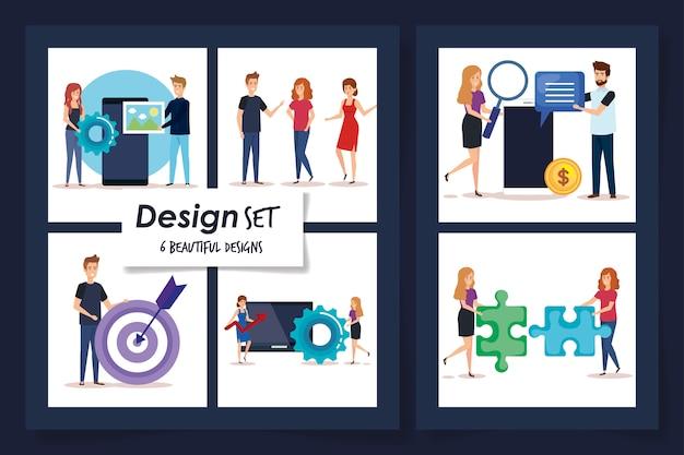 Набор дизайнов людей и икон бизнеса