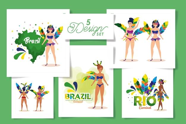 Набор дизайнов бразильского карнавала с женщинами и иконами