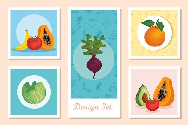 Набор дизайнов свежих овощей и фруктов
