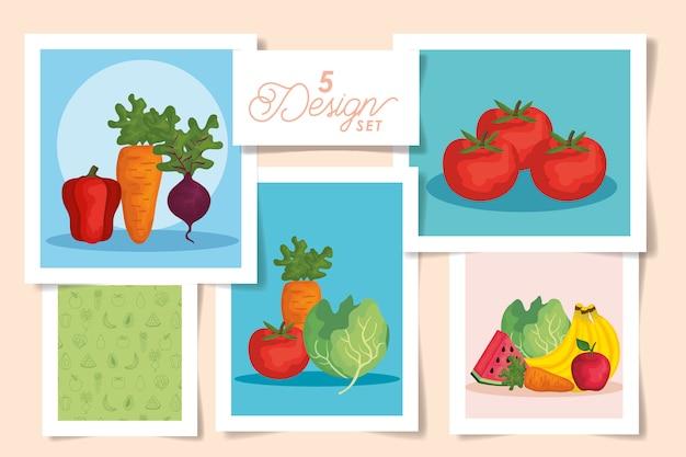 Набор дизайнов конструкций свежих с овощами и фруктами