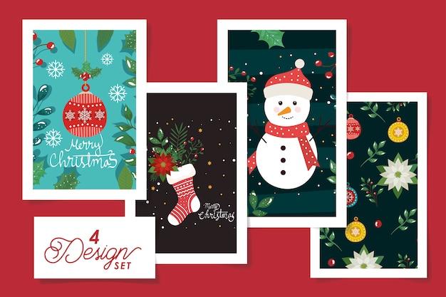 装飾とメリークリスマスポスターのセットデザイン