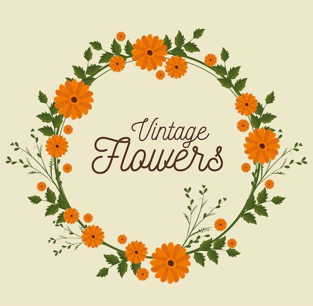 ビンテージ花フレーム装飾