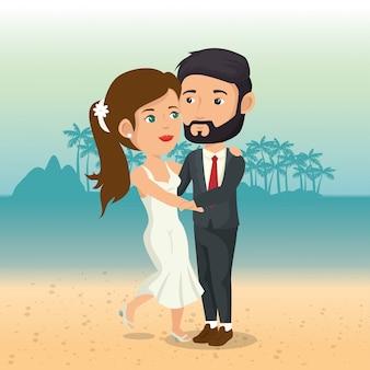 Просто семейная пара на пляже