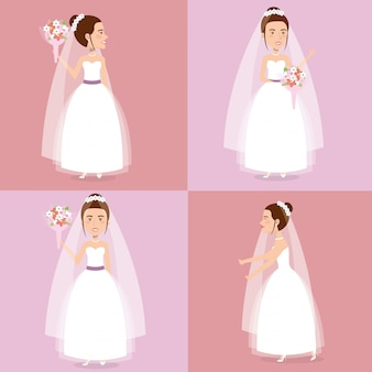 結婚したばかりのセットキャラクターのポーズのロマンチックな写真