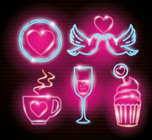 Набор иконок день святого валентина неонового света