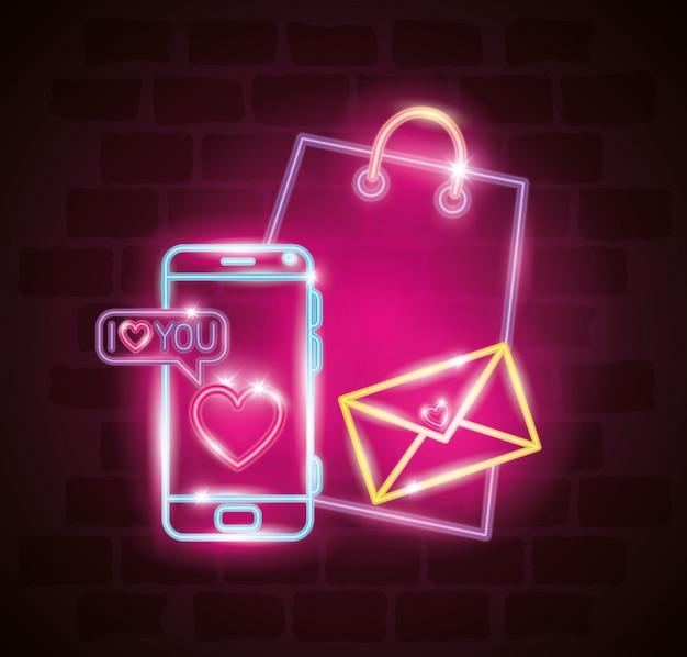 バレンタインデーのスマートフォンとネオンのアイコン