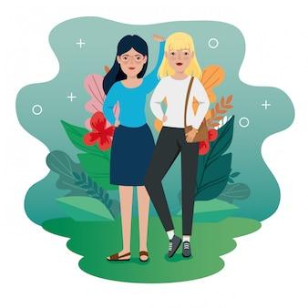 Женщины, стоящие с сумочкой и листьями тропиков векторная иллюстрация дизайн
