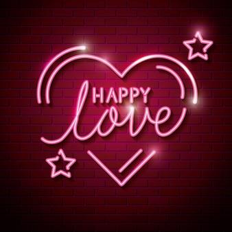 Счастливая любовь с сердцем и звездами неоновых огней