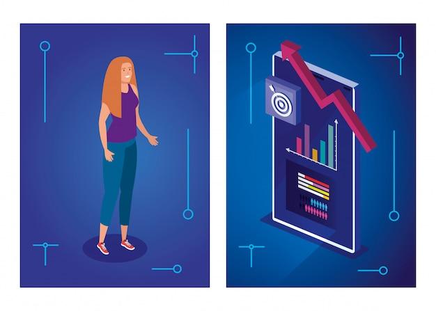 Женщина с устройством смартфона и инфографики