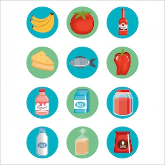 スーパーマーケットの食料品のアイコンを設定