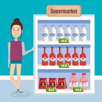 Потребитель с продуктами супермаркета