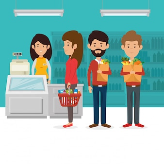 Потребители с супермаркетом корзина с продуктами